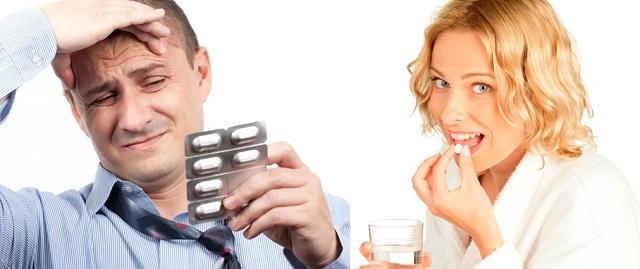Мужчина и женщина пьют таблетки
