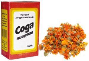 Сода и цветки календулы